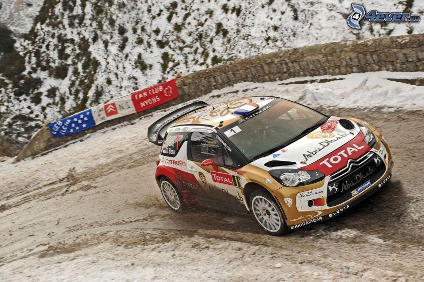 Citroën WRC, coche de carreras, carreras en circuito, nieve