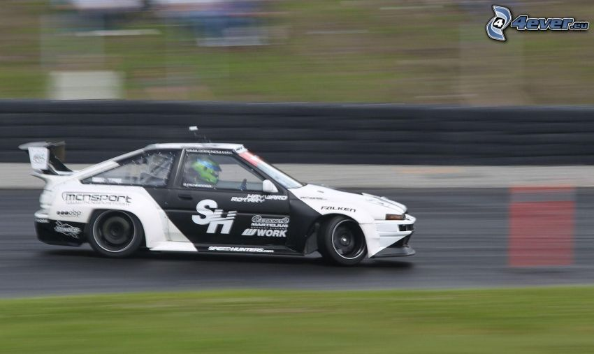 coche de carreras, acelerar, drift