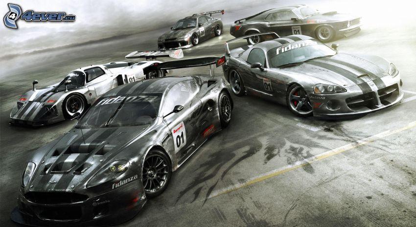 coche de carreras, Aston Martin, Dodge Viper