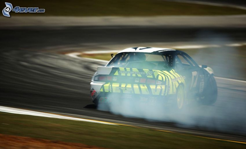 coche de carreras, drift, humo, carreras en circuito