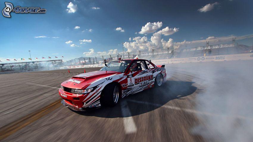 coche de carreras, drift, humo