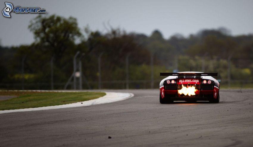 coche de carreras, llama, carreras en circuito