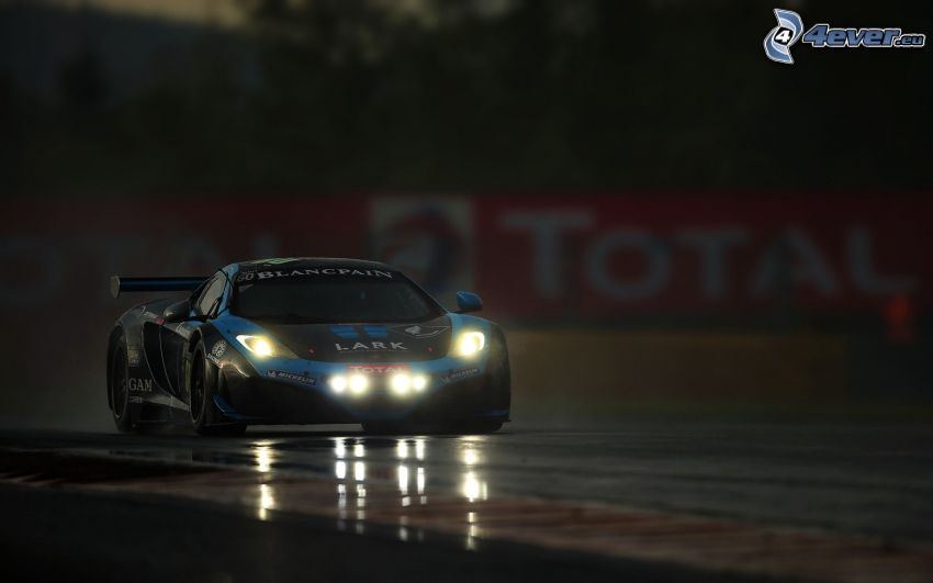coche de carreras, luces, carreras en circuito, oscuridad