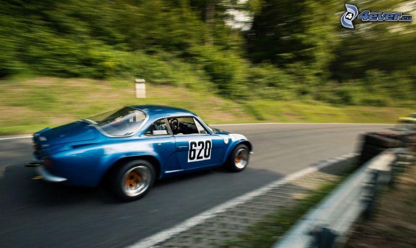 coche de carreras, veterano, acelerar