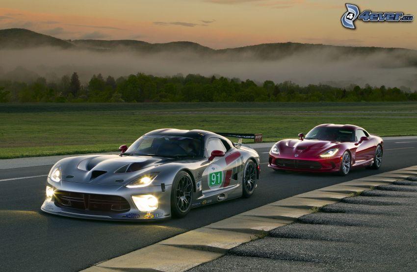 Dodge Viper, carreras en circuito, atardecer