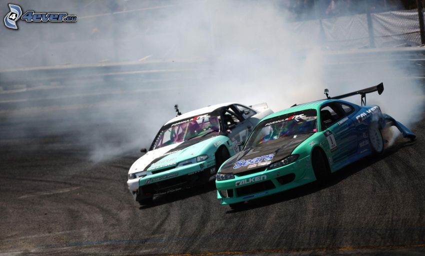 drift, coche de carreras, humo