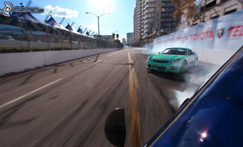 drift, humo, acelerar