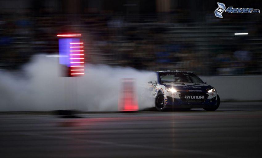 drift, Hyundai, coche de carreras, humo