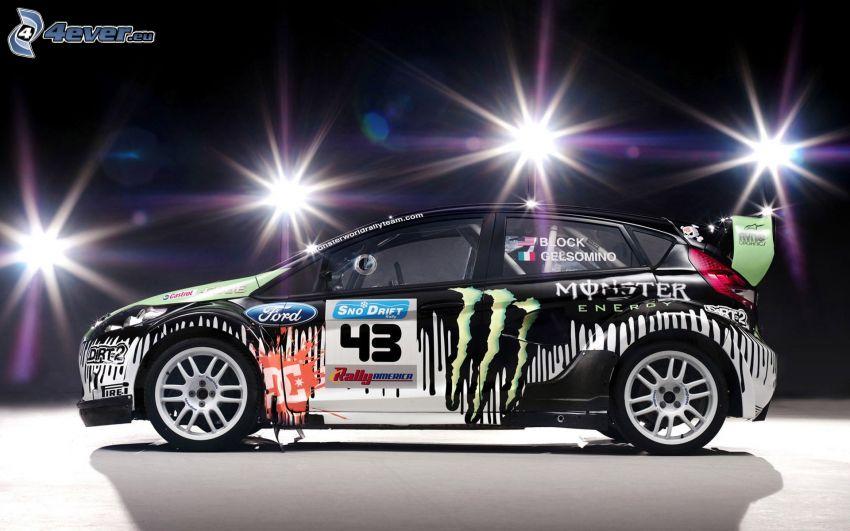 Ford Fiesta RS, coche de carreras, luces