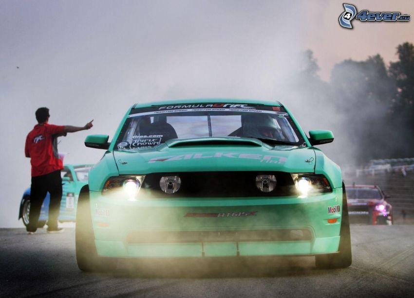 Ford Mustang, coche de carreras, delantera de coche, humo