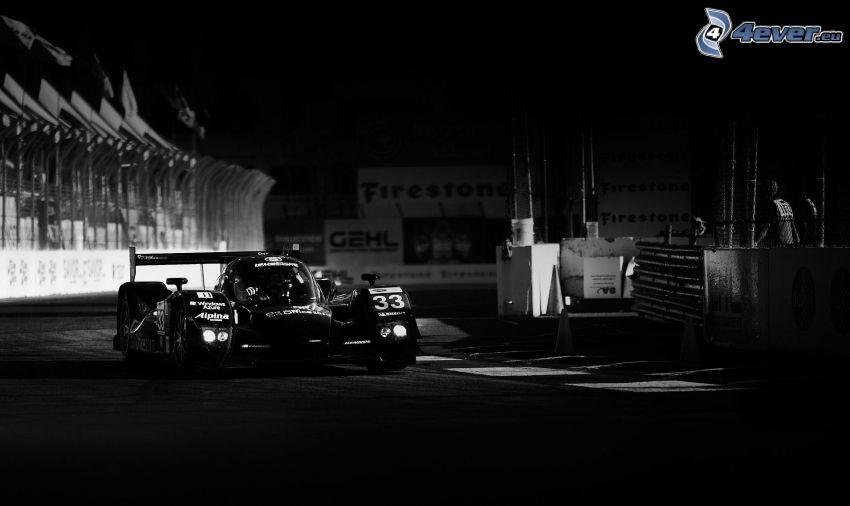 fórmula, carreras en circuito, noche, blanco y negro