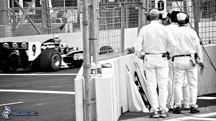 Fórmula 1, hombres, blanco y negro