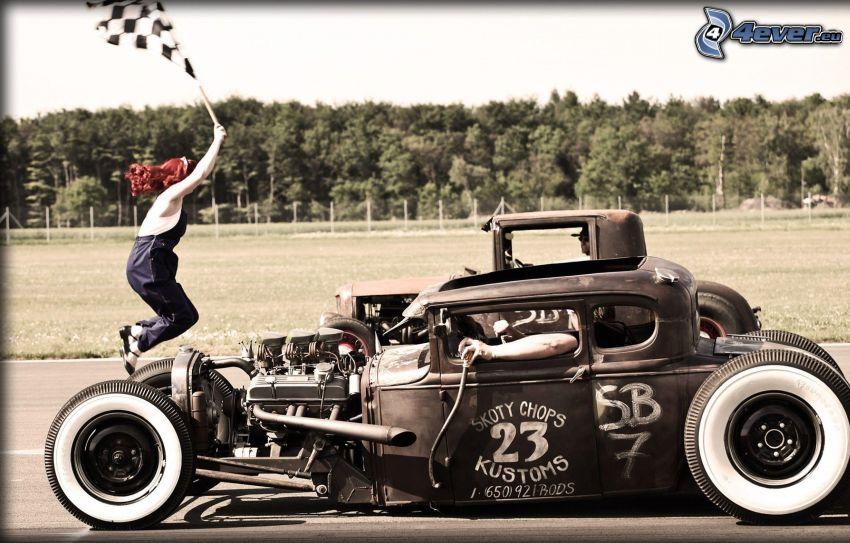 Hot Rod, carreras, coche de carreras, veterano, motor, chica, bandera