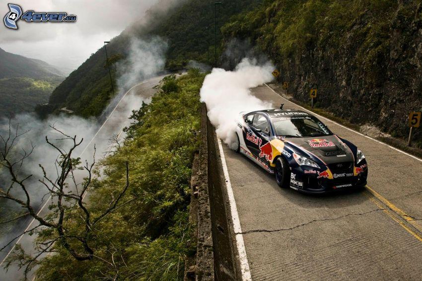 Hyundai, drift, camino, colina, humo