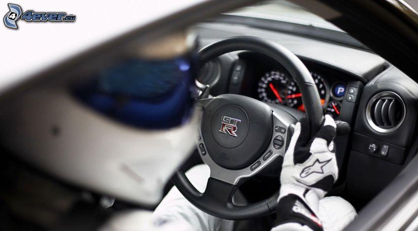 interior, volante, competidor