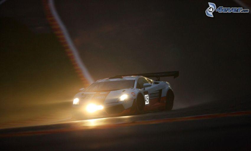 Lamborghini Gallardo, noche, luces, coche de carreras