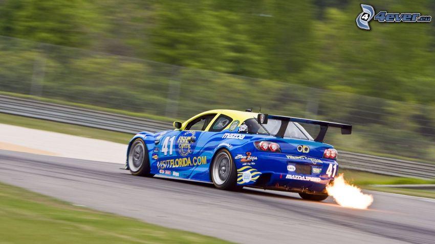 Mazda, coche de carreras, llama, acelerar