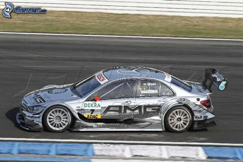 Mercedes-Benz C63 AMG, coche de carreras, acelerar, carreras en circuito