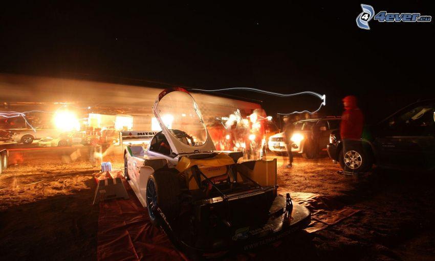 Mitsubishi, coche de carreras, noche, luz