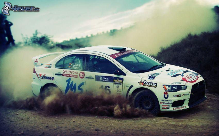 Mitsubishi Lancer Evolution, coche de carreras, polvo