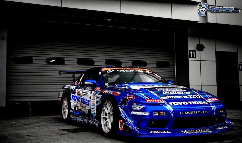 Nissan 240SX, coche de carreras, garaje