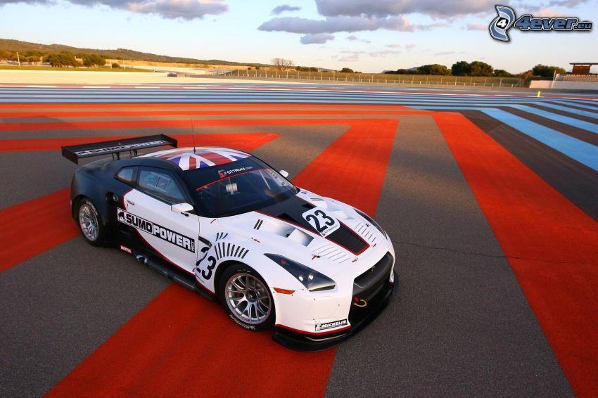 Nissan GTR, coche de carreras, carreras en circuito