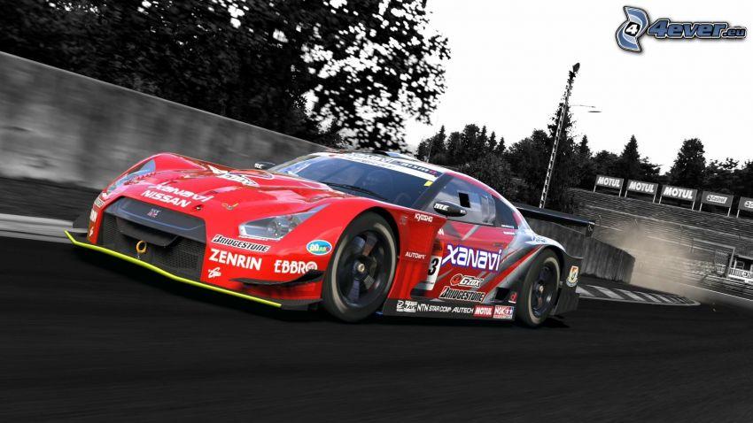 Nissan Nismo, coche de carreras, acelerar, carreras en circuito