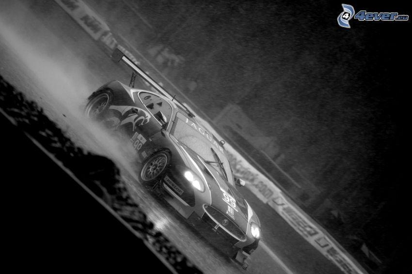 Nissan Skyline, coche de carreras, blanco y negro, luces