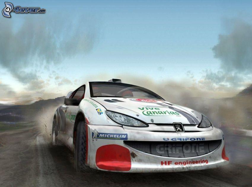 Peugeot, coche de carreras, acelerar, humo