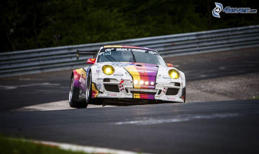 Porsche, coche de carreras, carreras en circuito