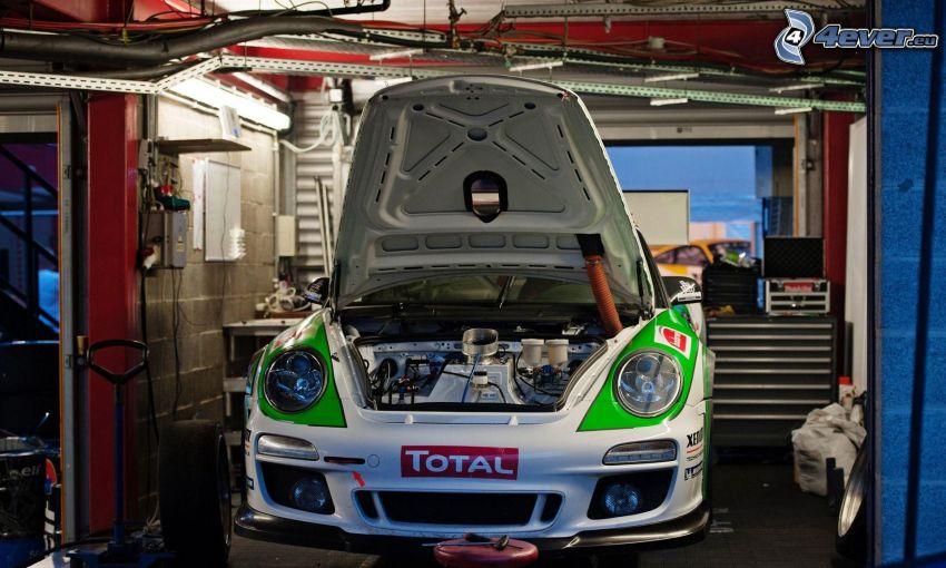 Porsche, coche de carreras, motor, taller