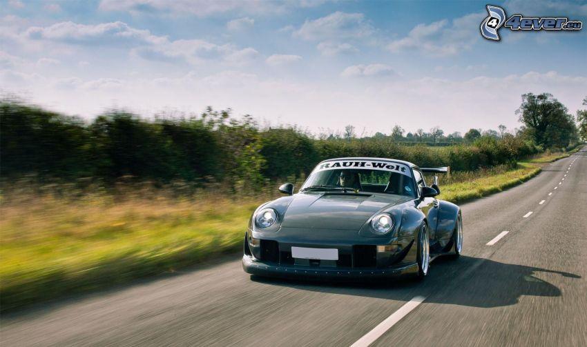 Porsche, coche deportivo, acelerar, camino recto