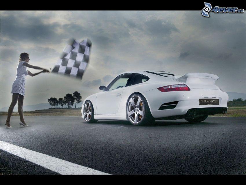Porsche Carrera, carreras, mujer, bandera