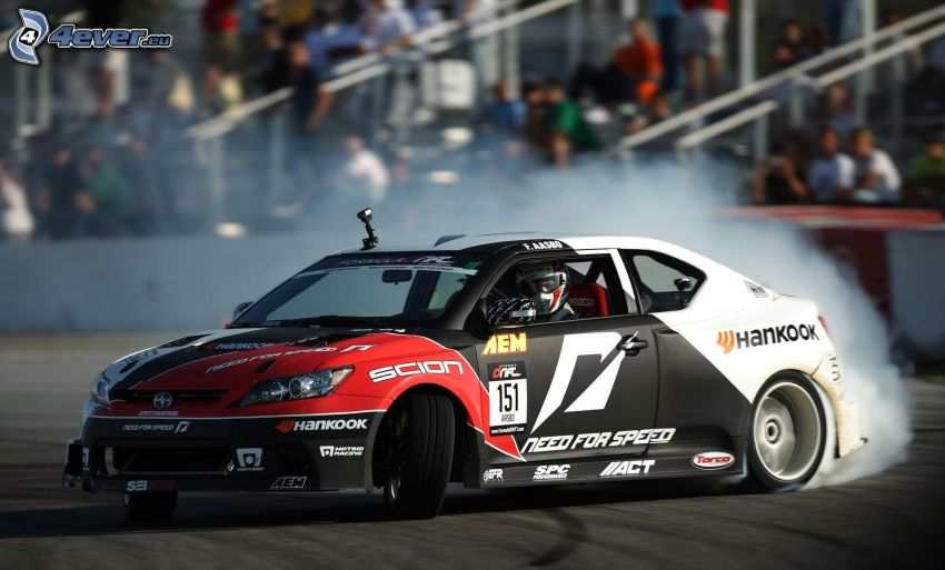 Scion TC, coche de carreras, drift, carreras en circuito, audiencia