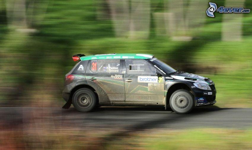 Škoda Fabia, coche de carreras, acelerar, rally