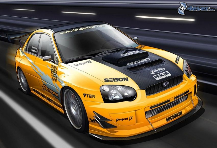 Subaru, coche de carreras, acelerar