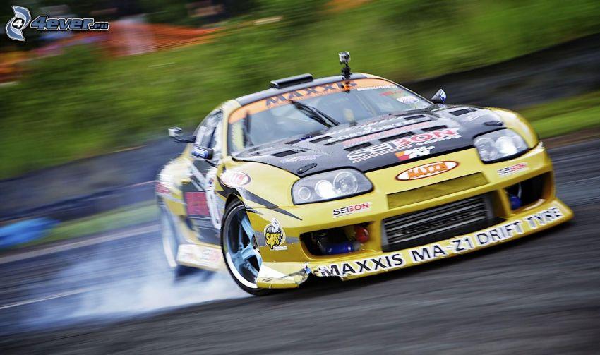 Subaru, coche de carreras, drift, acelerar