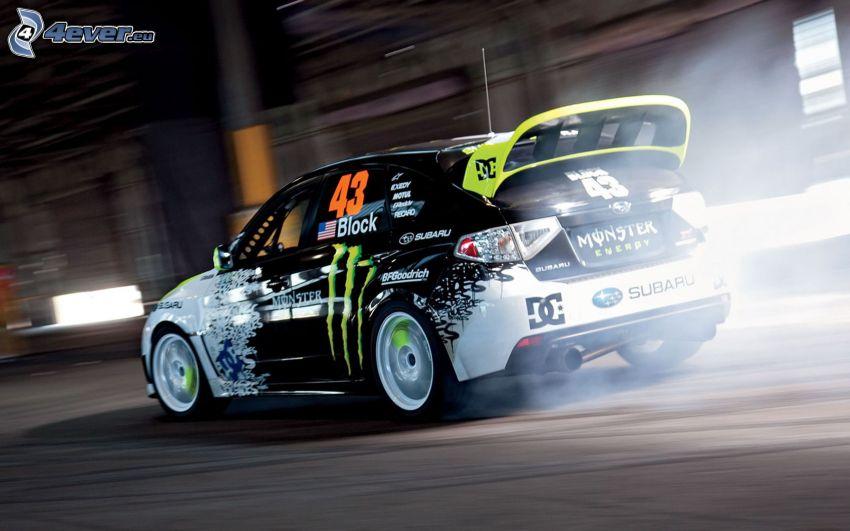 Subaru Impreza, coche de carreras, humo, acelerar