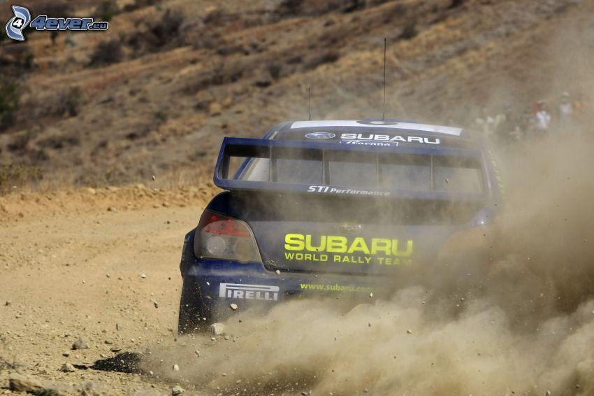 Subaru Impreza, coche de carreras, polvo