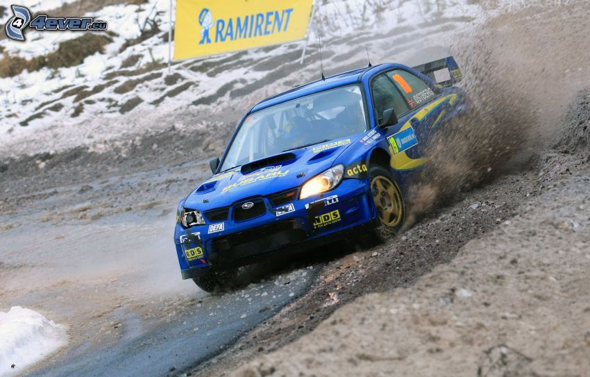 Subaru Impreza, drift, arcilla, curva, nieve
