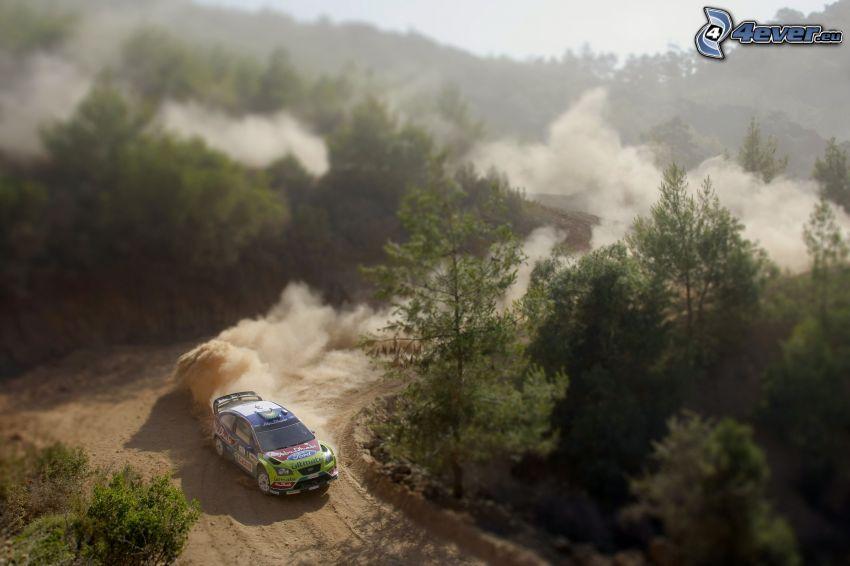 Subaru Impreza WRC, coche de carreras, polvo, caminos forestales