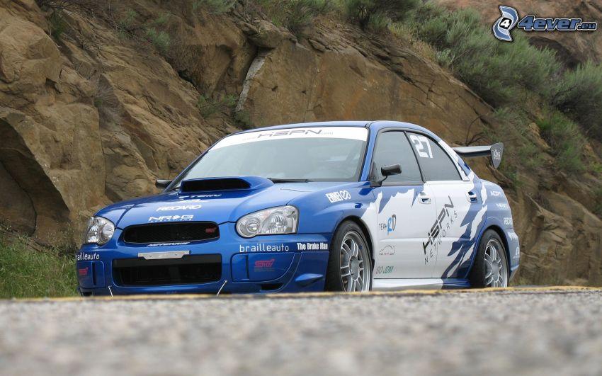 Subaru Impreza WRX, coche de carreras, roca