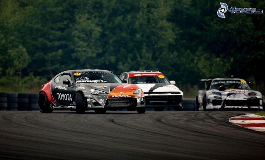 Toyota, coche de carreras, carreras en circuito, drift