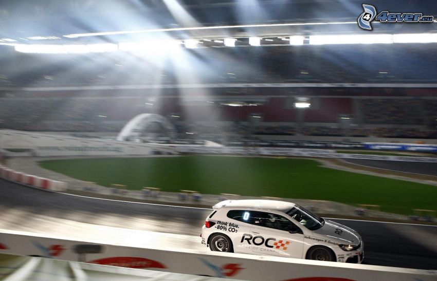 volkswagen, coche de carreras, carreras en circuito, acelerar