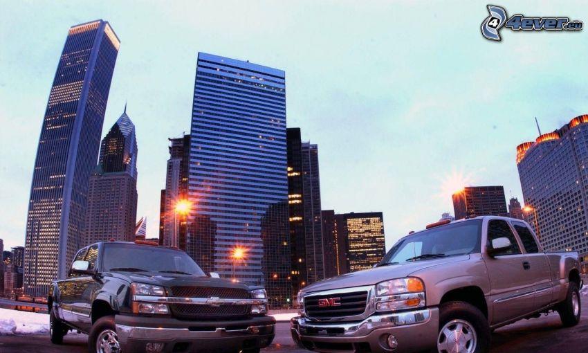 Chevrolet Silverado, GMC, pickup truck, rascacielos