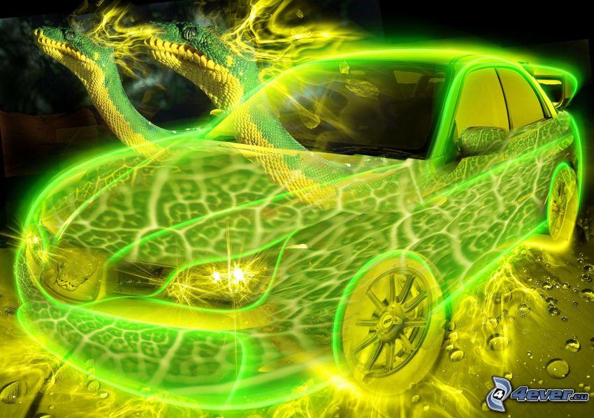 coche, neón, serpientes
