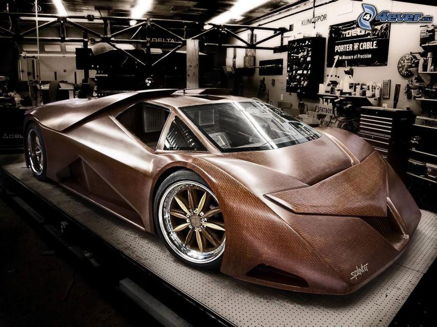 coche de madera, taller