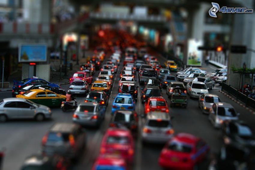 congestión vehicular, coches, calle, diorama
