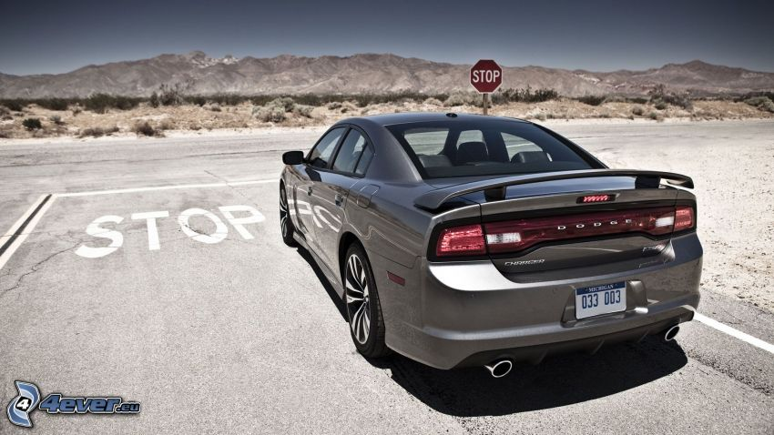 Dodge Charger, stop, camino