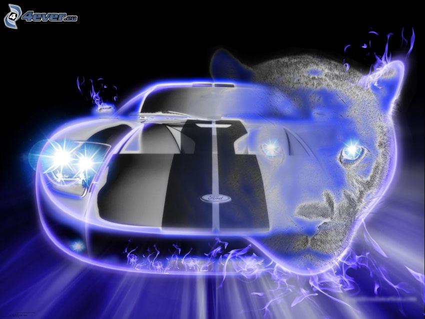 Ford GT40, neón, puma, dibujos animados de coche
